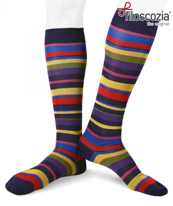 Calze Lunghe Righe Irregolari Colorate in Cotone Filo Scozia fondo bluette da uomo