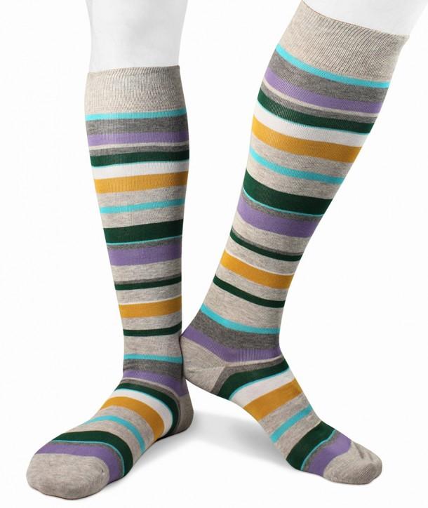 Calze Lunghe Righe colorate irregolari in Cotone Fondo grigio