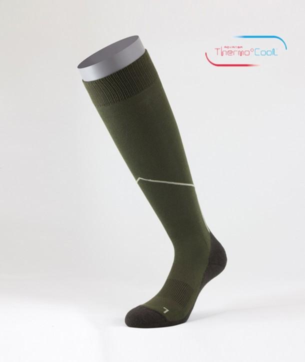 ThermoCool® Long Trekking Socks Green Brown for men