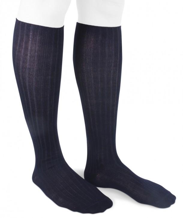 Ribbed Long Wool Women Socks Navy Blue