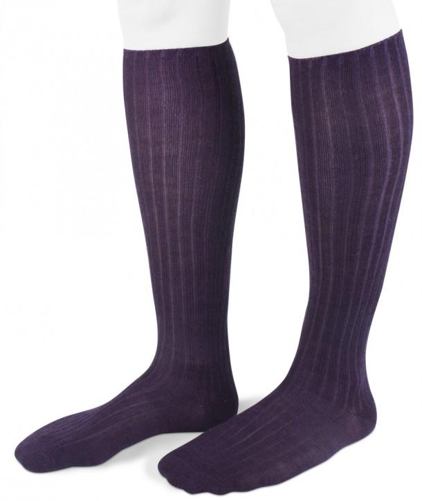 Ribbed Long Wool Women Socks Purple