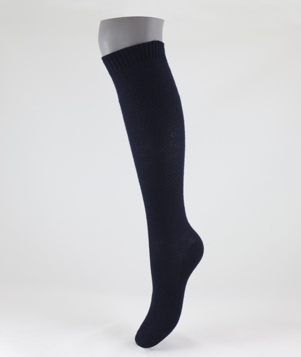 Moss Stitch Long Wool Socks Navy Blue for women
