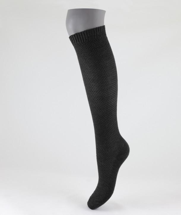 Moss Stitch Long Wool Socks Grey for women