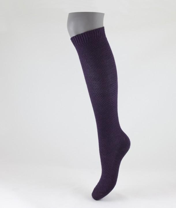 Moss Stitch Long Wool Socks Purple for women