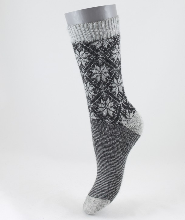 Fair Isle Angora Wool Short Women Socks