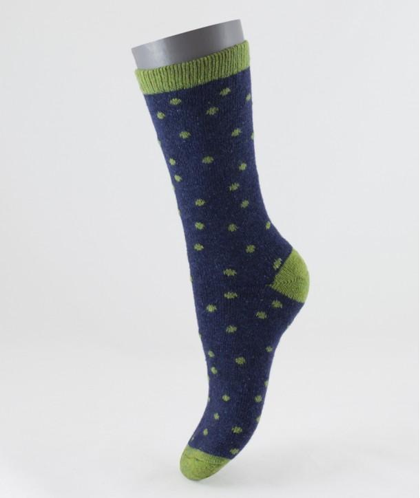 Wool Silk Dot Short Socks Green for women