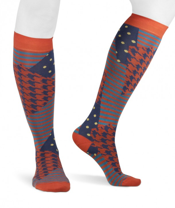 Long cotton women colored socks stripes dots pied de poule blue orange