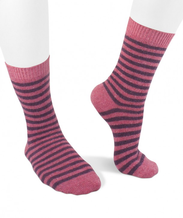Wool silk short striped socks for women Fuchsia purple