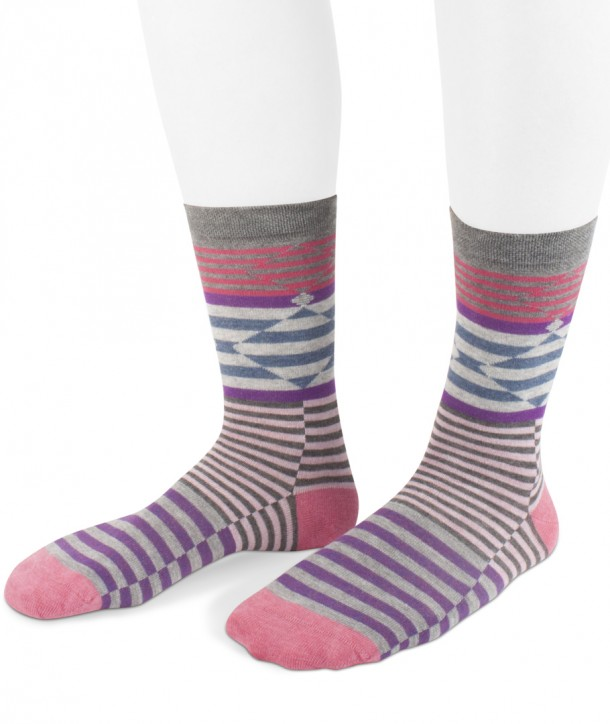 short viscose stripes fancy socks for women grey pink