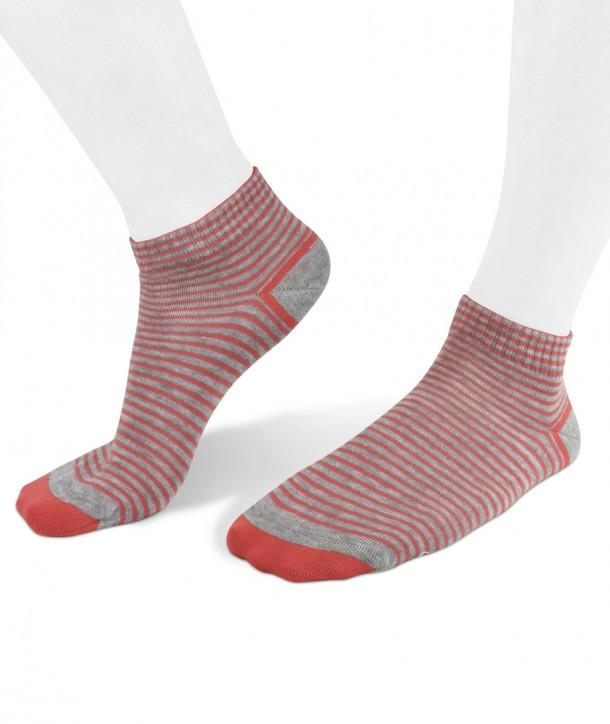 sneaker cotton women socks orange stripes on grey