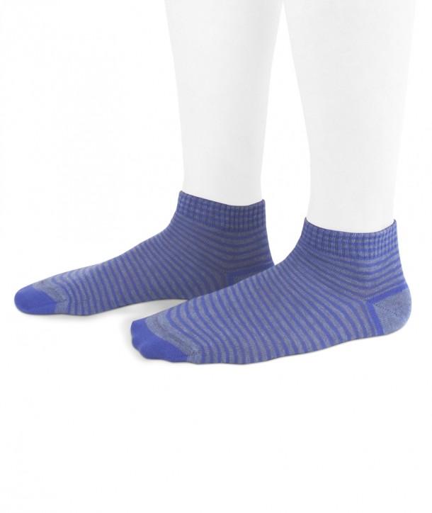 Calze sneakers a righe blu su fondo denim in cotone per donna