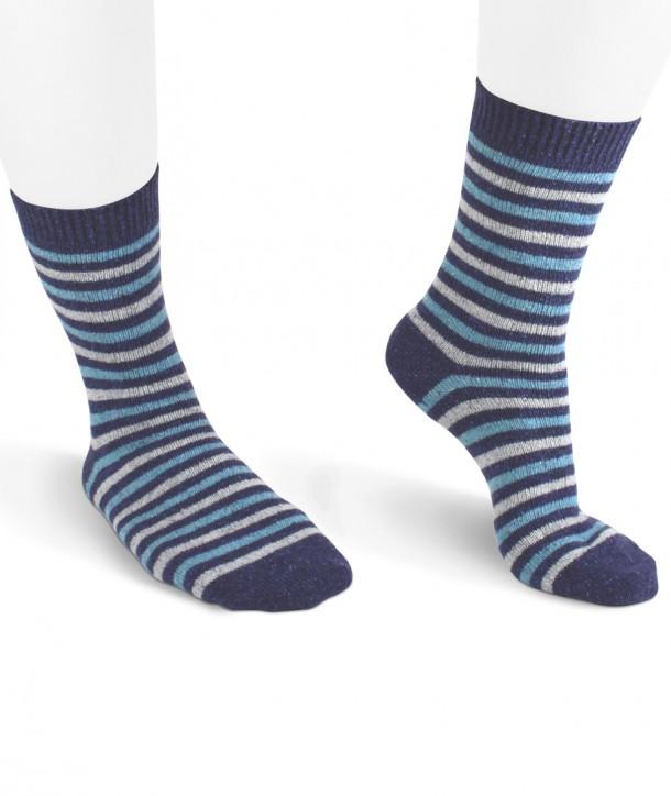 Striped Wool Silk Short Women Socks blue Grey turquoise