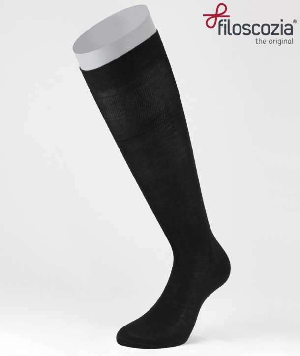 Flat Knit Cotton Lisle Long Socks Black for men