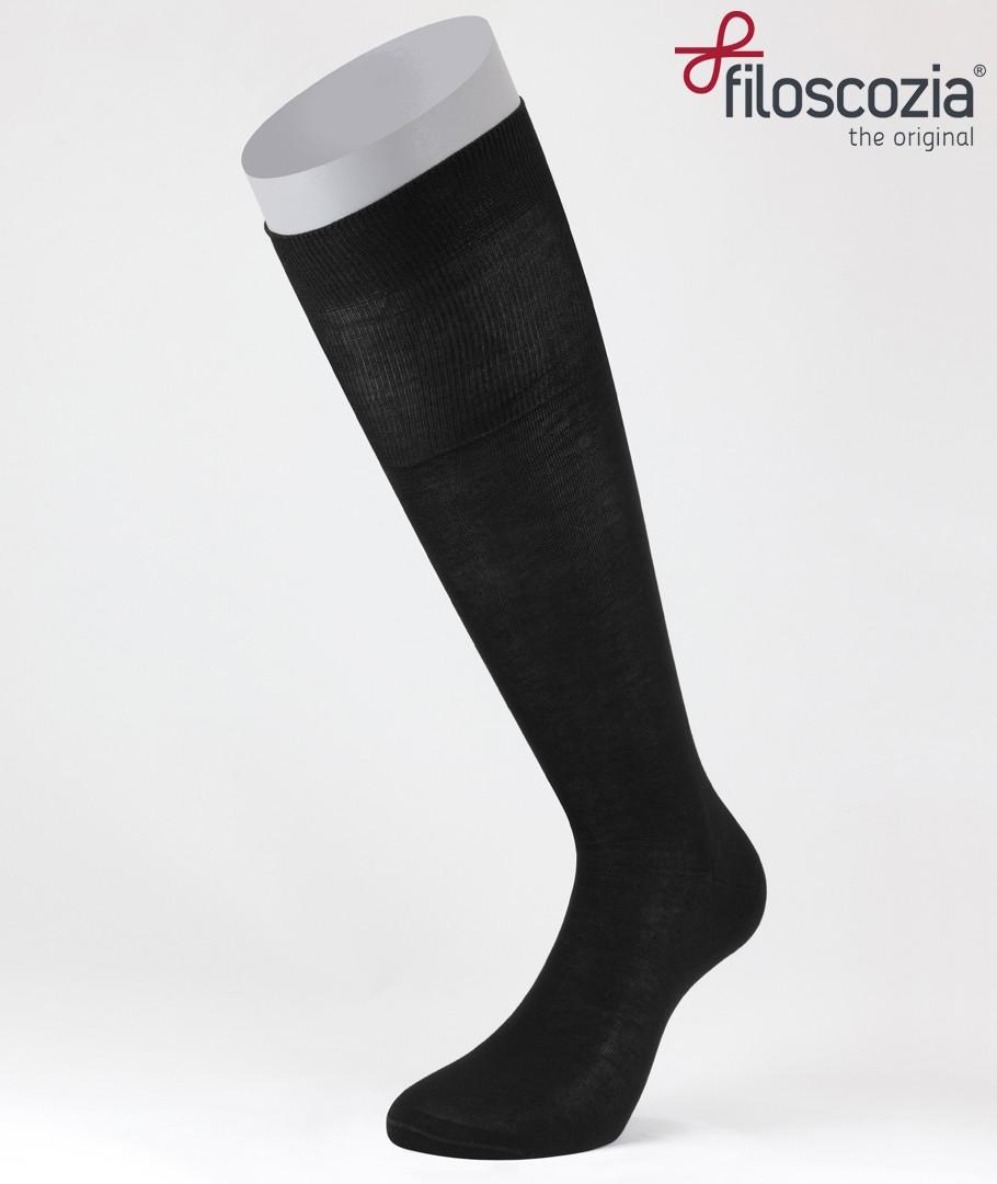 d56459fc6 Flat Knit Cotton Lisle Long Socks Black for men