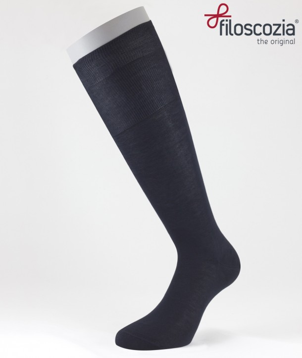Flat Knit Cotton Lisle Long Socks Navy Blue for men