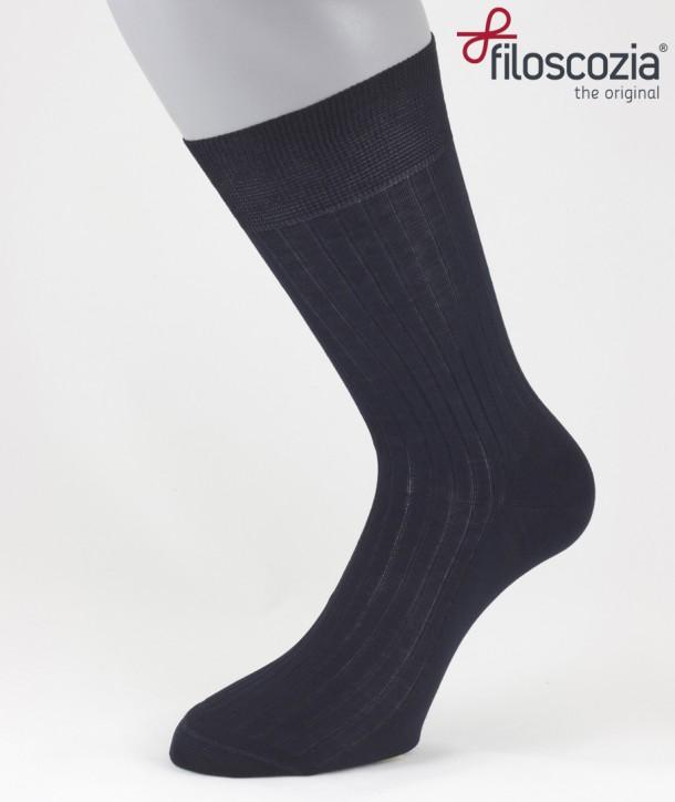 Ribbed Cotton Lisle Short Socks Navy Blue for men