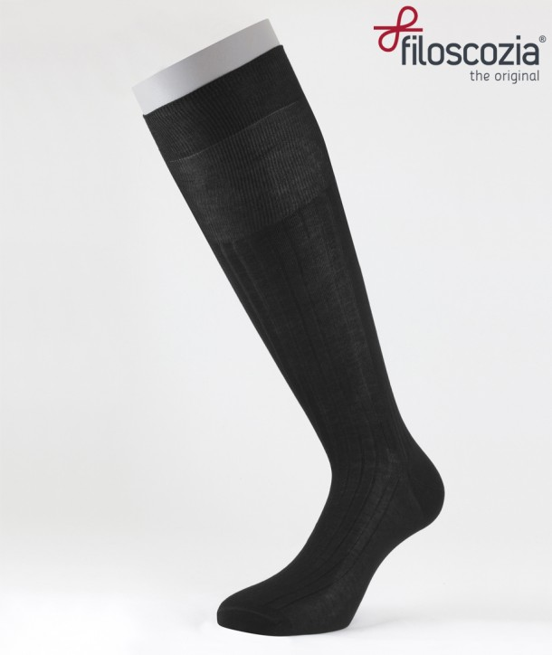 Ribbed Cotton Lisle Long Socks Black for men