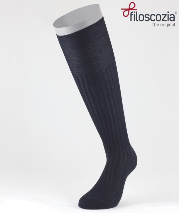 Ribbed Cotton Lisle Long Socks Navy Blue for men
