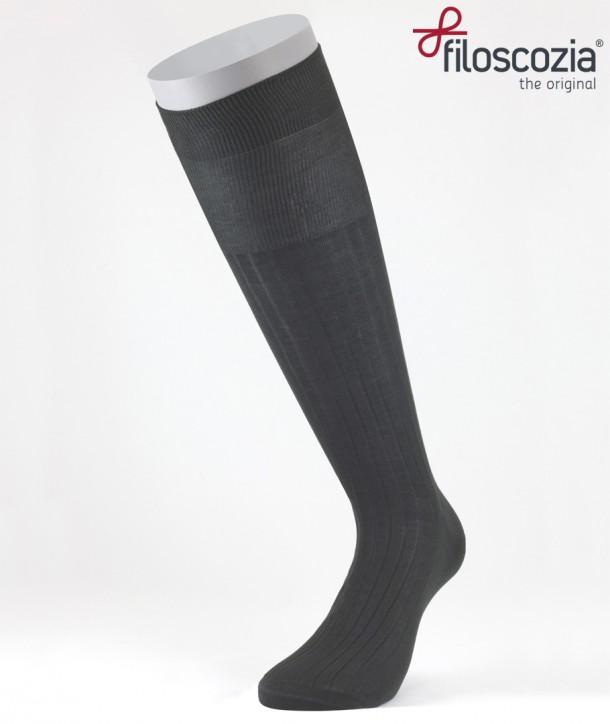 Ribbed Cotton Lisle Long Socks Anthracite for men