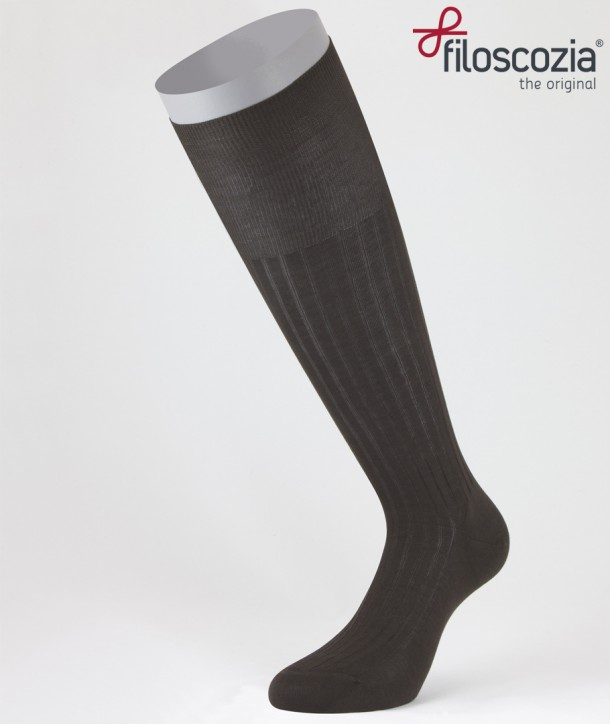Ribbed Cotton Lisle Long Socks Brown for men