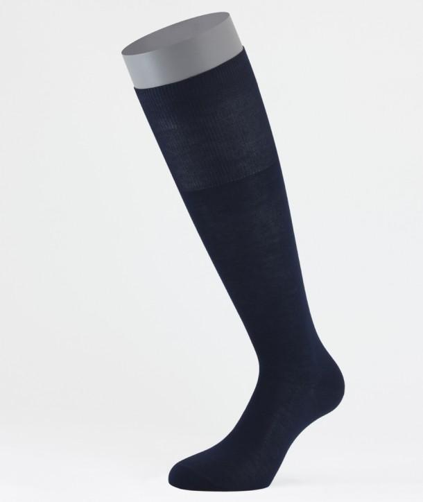 Flat Knit Cotton Long Socks Navy for men