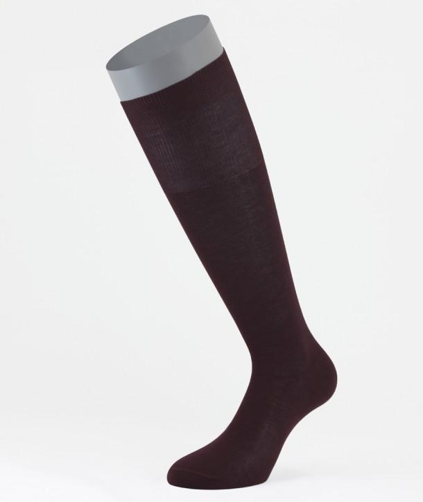 Flat Knit Cotton Long Socks Bordeaux for men