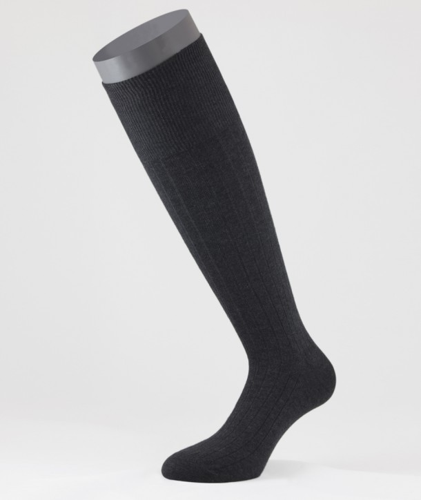 Ribbed Winter Cotton Long Socks Anthracite for men