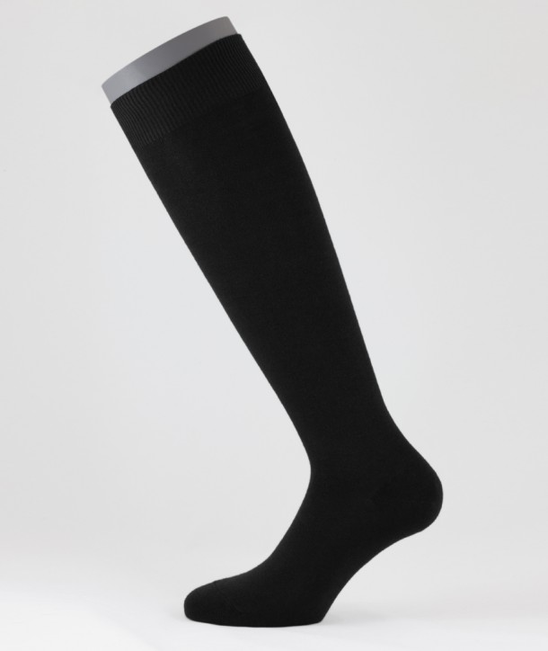 Flat Knit Cotton Cotton Cashmere Long Socks Black