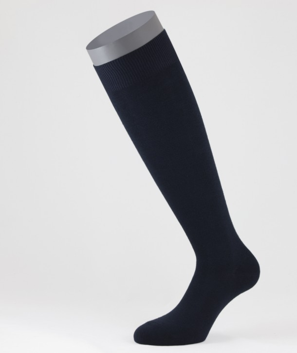 Cotton Cashmere Long Socks Navy Blue for men