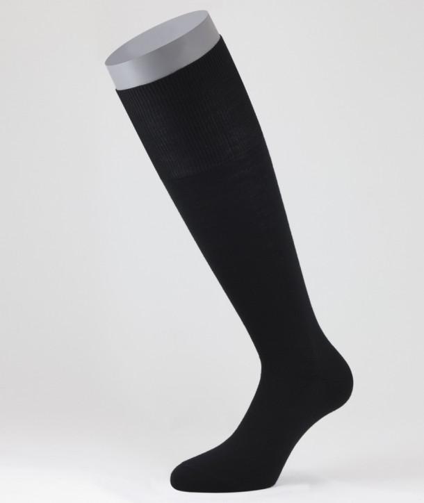 Flat Knit Wool Long Socks for men Black