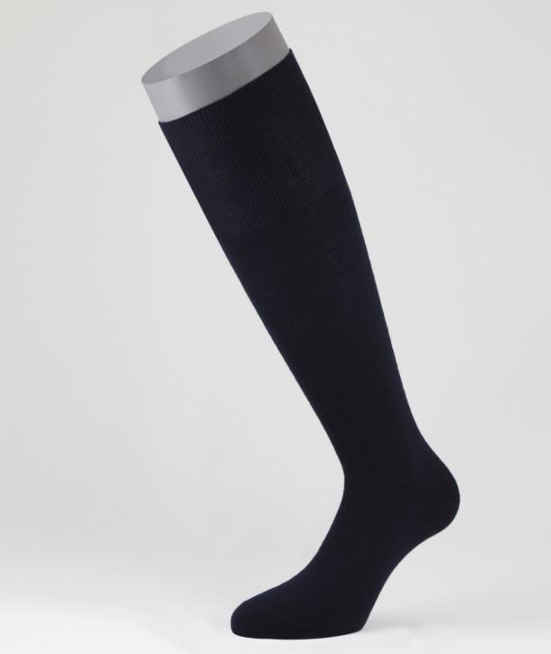 Flat Knit Wool Long Socks for men Navy Blue