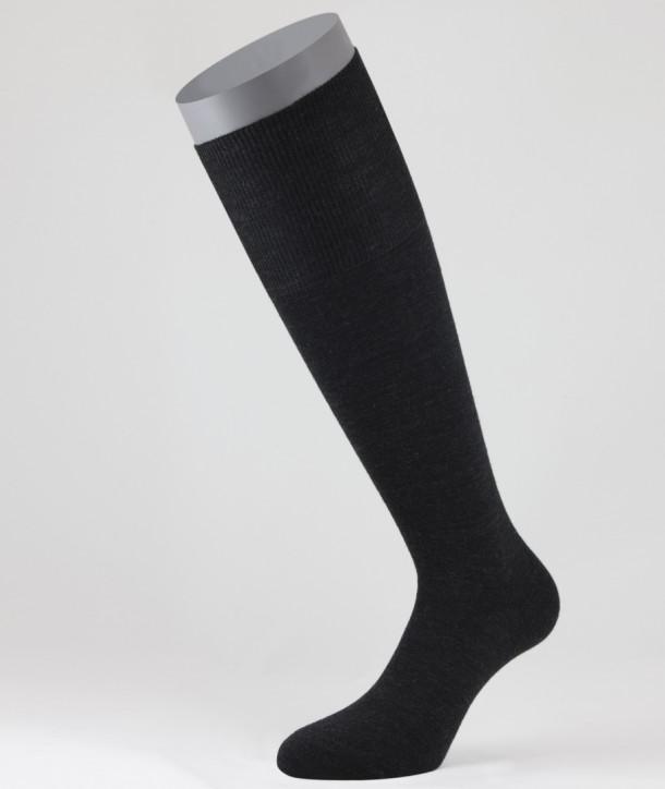 Flat Knit Wool Long Socks for men Anthracite