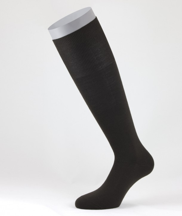 Flat Knit Wool Long Socks for men Brown