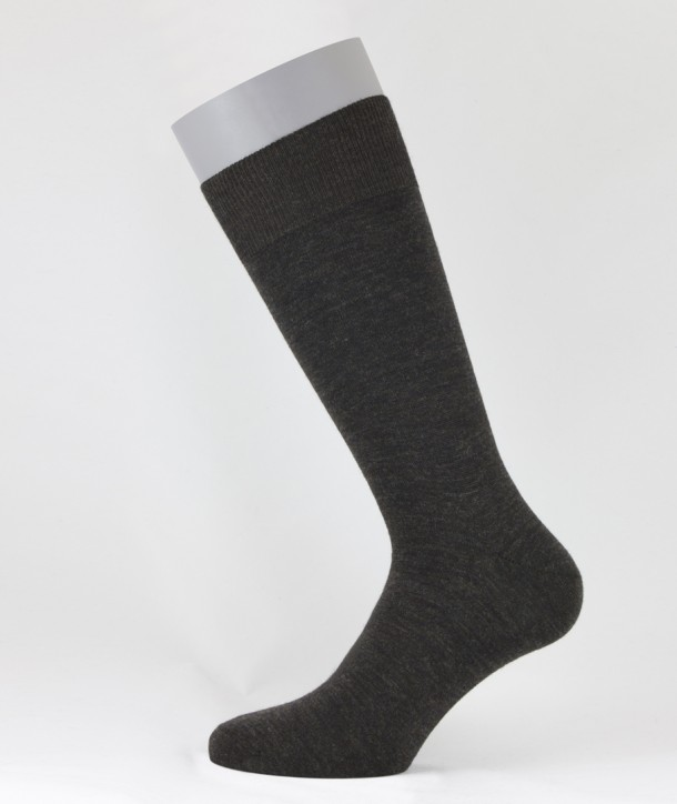 Flat Knit Wool Short Socks for men Brown