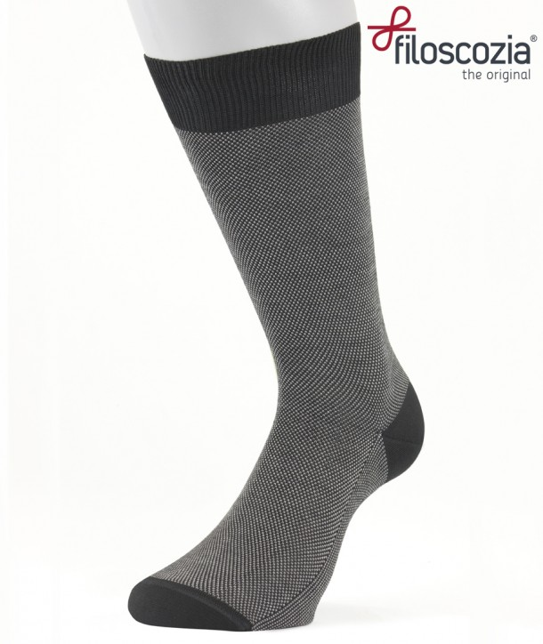 Birdseye Cotton Lisle Short Socks Black for men