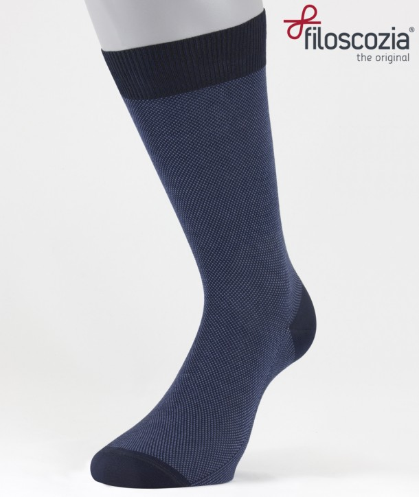 Birdseye Cotton Lisle Short Socks Blue for men