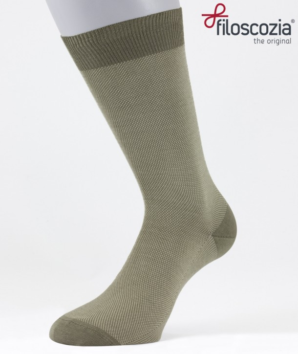 Birdseye Cotton Lisle Short Socks Beige for men