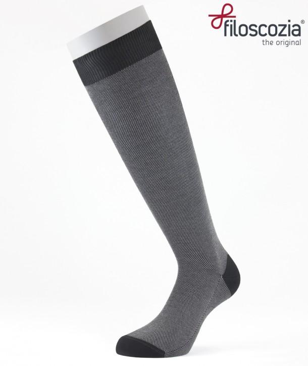 Birdseye Cotton Lisle Long Socks Black for men