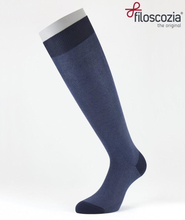 Birdseye Cotton Lisle Long Socks Blue for men