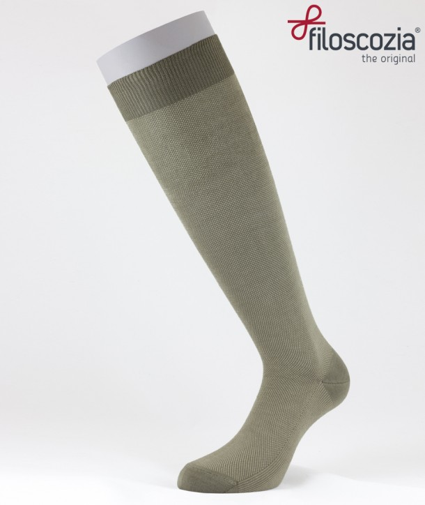 Birdseye Cotton Lisle Long Socks Beige for men