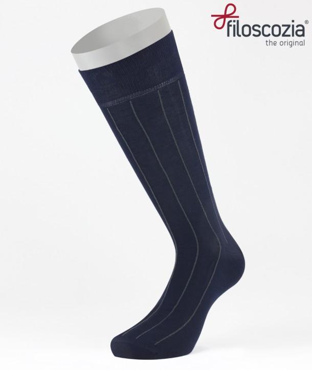 Calze Corte Gessato Blu in Cotone Filo di Scozia per uomo