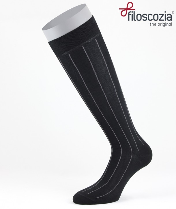Pinstripe Cotton Lisle Long Socks Black for men