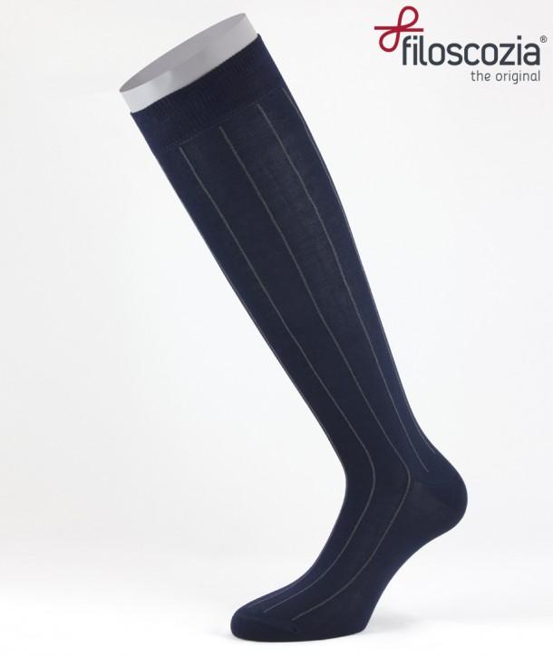 Pinstripe Cotton Lisle Long Socks Navy Blue for men
