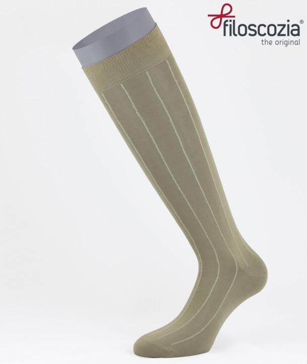 Pinstripe Cotton Lisle Long Socks Beige for men