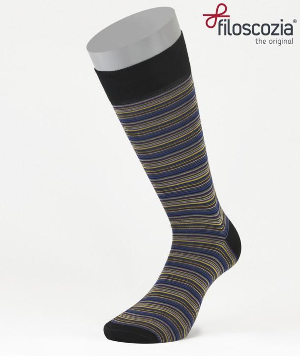 Thin Stripes Cotton Lisle Short Socks Black for men
