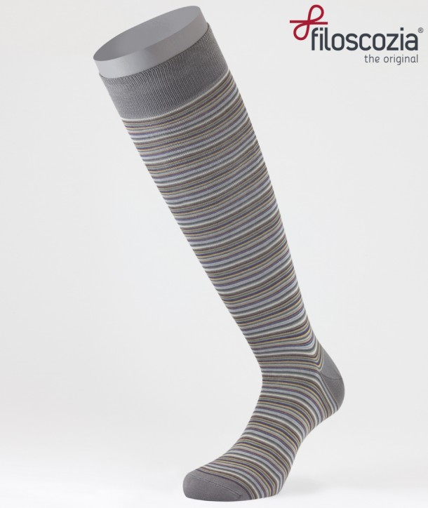 Thin Stripes Cotton Lisle Long Socks Grey for men