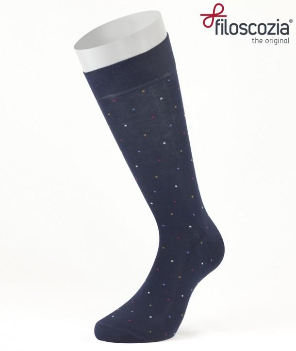 Calze Corte Mini Pois Blu in Cotone Filo di Scozia per uomo