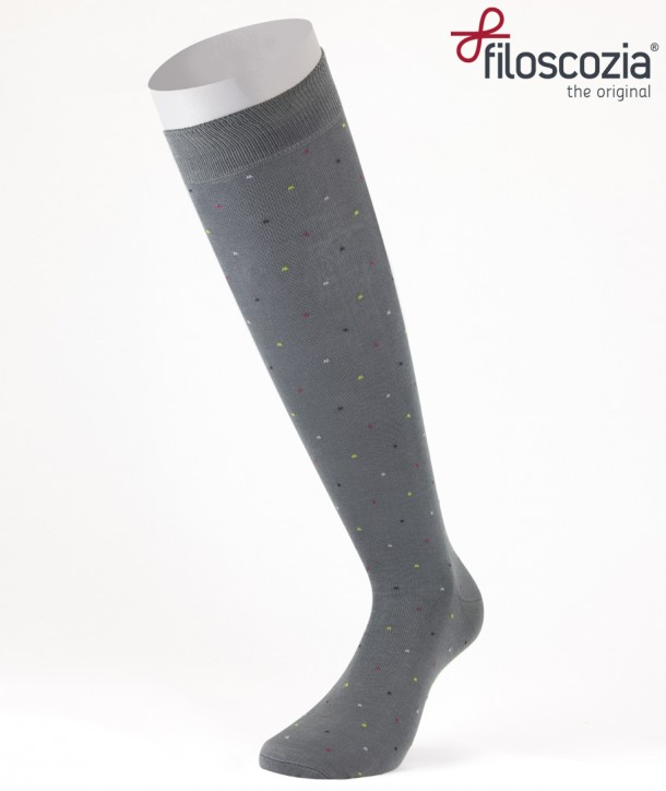 Calze Lunghe Mini Pois Grigio in Cotone Filo di Scozia per uomo