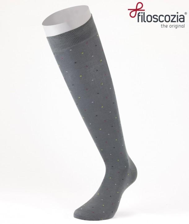 Mini Dots Cotton Lisle Long Socks Grey for men