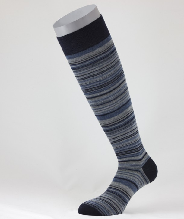 Irregular Stripes Wool Long Socks Navy Blue for men